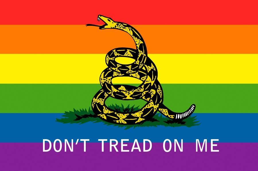 gay don't tread on me libertarian flag snake