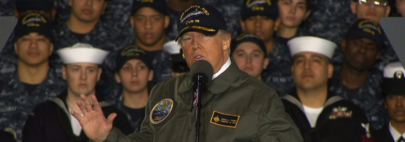 trump talks speech to military in uniform navy army marines coast guard
