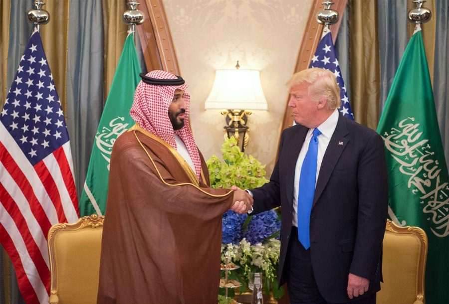 trump meets with crown prince mohammed bin salman in saudi arabia