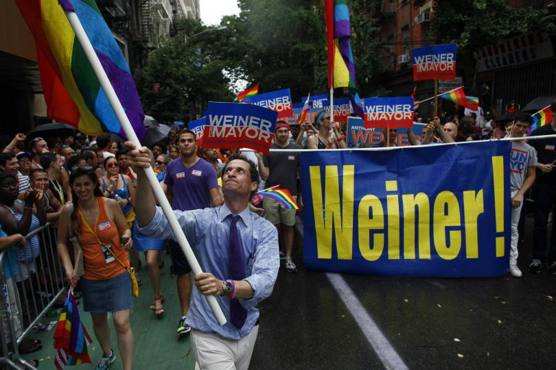 Anthony Weiner at gay pride parade in New York City